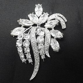 Large Sparkling Rhinestone Flower Brooch by Exquisite