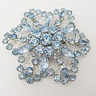 Huge Blue Rhinestone Brooch-3 1/4