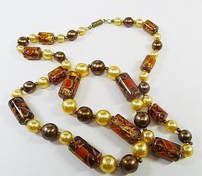 Copper and Pearl Colored Long Bead Necklace
