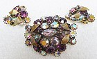 Sparkling Aurora Borealis Set - Brooch and Earrings