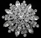 Clear Rhinestone Domed Brooch - 2