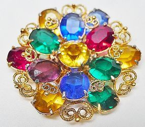 Filigreed Bright Colored Rhinestone Dress Clip