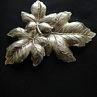 Large Silver Colored Leaf Brooch