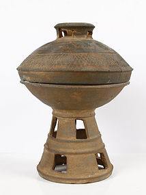 Ancient Korean Silla Period Pottery Pedestal bowl