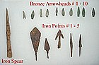 Bronze and Iron Arrowheads from Europe