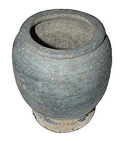 Ancient Khmer Culture Black Pottery Vessel