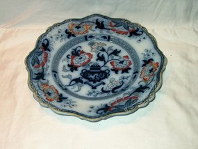 Early Victorian Ironstone Flow Blue Plate