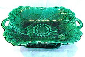 Wedgwood Green Majolica Compote or Tray