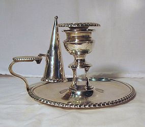 Georgian Sterling Silver Chamberstick with Snuffer