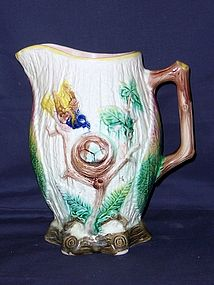 American Majolica Pitcher; Robins and Eggs