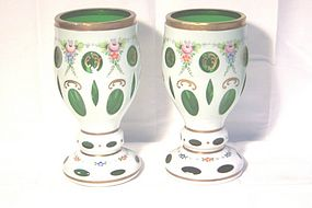 Bohemian Cut to Clear Pair of Emerald Green Vases