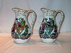 Pair of  Victorian Staffordshire Pitchers Chinese Style