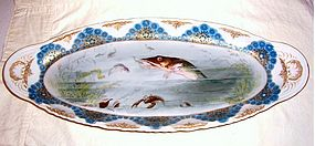 Large Limoges Porcelain Hand Painted Fish Set