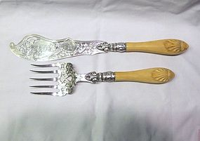 Victorian Sterling Fish Set; Carved Ivory Handles