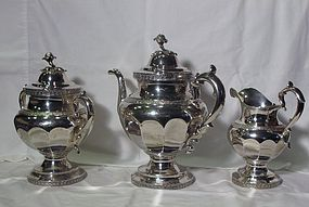 Ball, Tompkins & Black Coin Silver Teaset; James Bogert