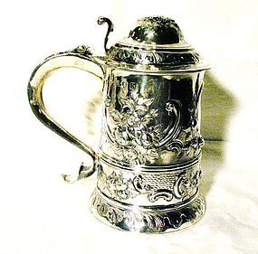 Georgian Sterling Silver Lidded Tankard 1777