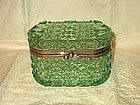 Green Glass Trinket or Jewelry Box