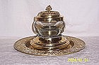 Victorian Brass Inkwell with Underplate