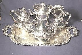 Meriden Britannia Silver Plate Tea Set with Tray & Meriden Britannia Silver Plate Tea Set with Tray (item #447950)