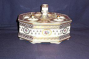 Dresden Porcelain Inkstand by Carl Thieme
