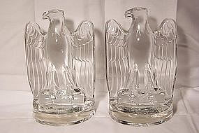 Pair of Large Fostoria Glass Eagle Bookends