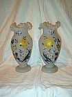 Pair of Bristol Vases; Ruffled Rim