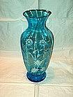 Blue Bohemian Enameled Vase