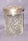 Large Cut Glass and Sterling Vanity or Dresser Jar