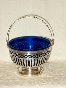 Sterling Silver Sugar Basket Cobalt Blue Liner