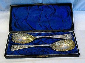 Early Victorian Boxed Silver Berry Spoons Gilt Bowls