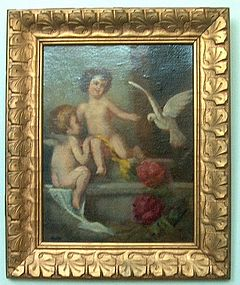 Cupids and Dove Oil on Board