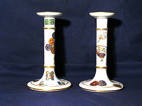 Pair of Porcelain Royal Worcester Candlesticks