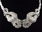 Margot DeTaxco Silver Swans Pectoral Necklace Set