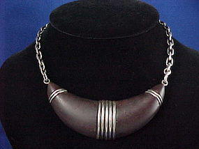 WILLIAM SPRATLING SILVER & ROSEWOOD NECKLACE