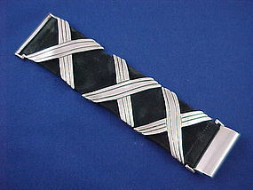 "HECTOR AGUILAR Silver & Suede X X X Bracelet  1 3/4""W"