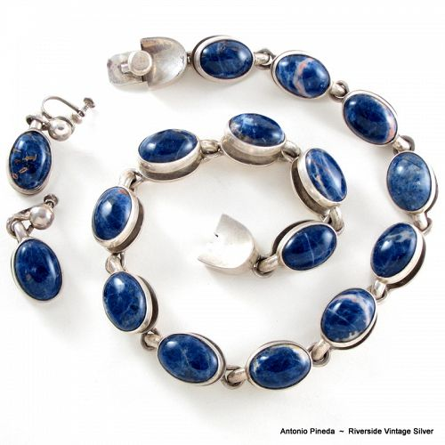 ANTONIO Pineda Silver & Sodalite Necklace & Earrings
