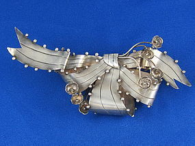 "Bold 1940 WILLIAM SPRATLING Silver Bow Pin 6 1/2"" Long"