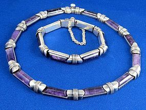 ANTONIO PINEDA NECKLACE BRACELET AMETHYST 970 SILVER