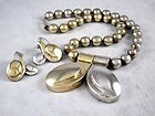 WILLIAM SPRATLING NECKLACE EARRINGS SILVER GOLD WASH