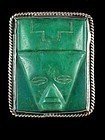 FRED DAVIS SILVER & CARVED GREEN ONYX PIN C. 1920-30