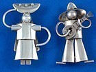 FRED DAVIS SILVER PINS PAIR  MEXICAN COUPLE CIRCA 1930