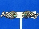 HUBERT HARMON EARRINGS STERLING SILVER TURQUOISE FISH