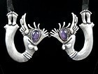 HUBERT HARMON SILVER & AMETHYST  ANGEL NECKLACE