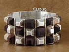 WILLIAM SPRATLING  ROSEWOOD & SILVER PYRAMID BRACELET