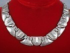 FRED DAVIS SILVER MASK & SHIELD NECKLACE DECO 1930