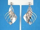 "WILLIAM SPRATLING STERLING SILVER EARRINGS 2 1/4"" Long"