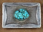 PRESTON MONONGYE SILVER & TURQUOISE BELT BUCKLE