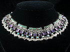 MATILDE POULAT MATL SILVER, TURQUOISE & AMETHYST NECKLACE