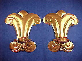 Unique Pair Vintage HECTOR AGUILAR Copper Wall Sconces