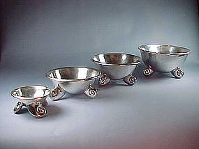 4 Vintage WILLIAM SPRATLING Sterling Nautilus Bowls